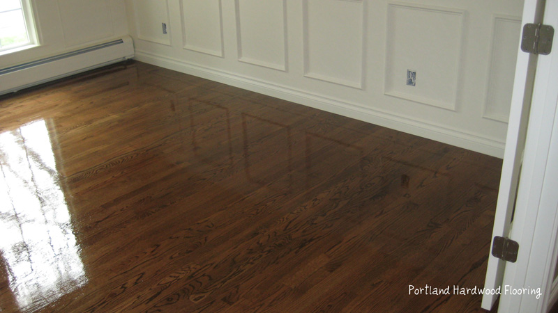 Portland hardwood flooring oak with medium brown stain Reclaimed wood flooring portland